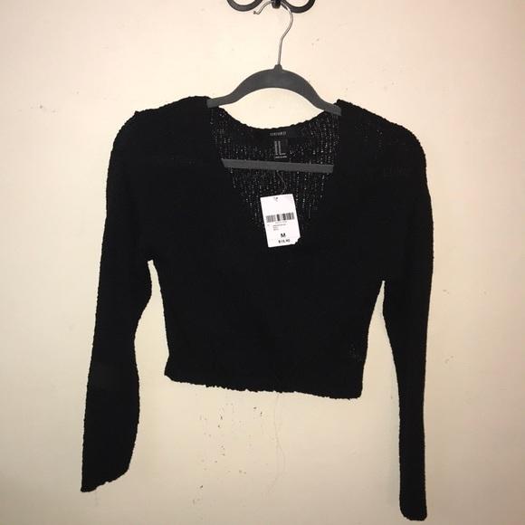Black Knit Crop Top Sweater NWT